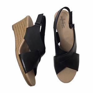 Clarks Lafley Alaine Leather Wedge Sandas Sz 9.5